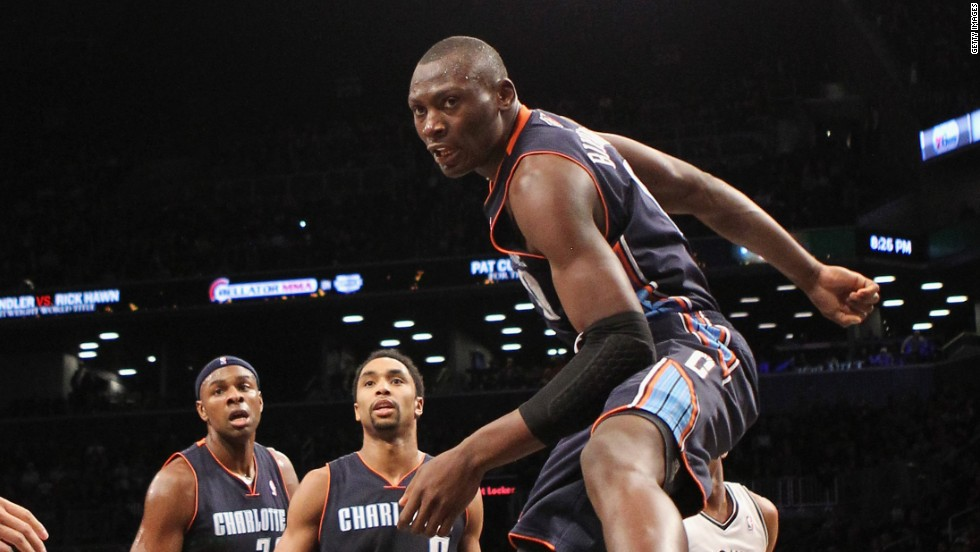 Born in the Democratic Republic of Congo, 21-year-old Bismack Biyombo began his professional basketball career in Spain and in 2011 he was drafted to the NBA and traded to the Charlotte Hornets, where he still plays today.