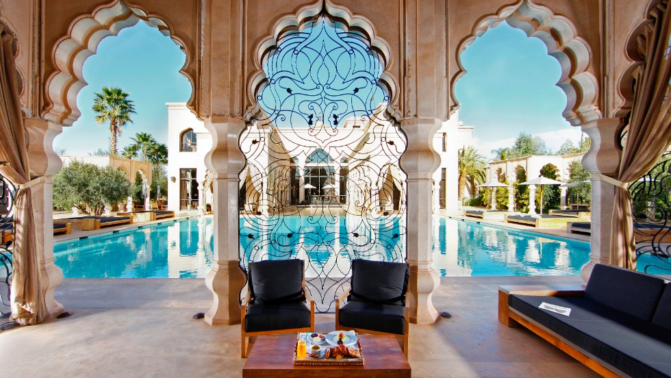 "Palais Namaskar in Morocco was named a Fodor's ""exotic hideaway"" award winner. ""When you think just outside of Marrakesh proper, you get the sense of being in a desert oasis,"" says Bowen. ""It's all lushness, the setting is romantic, and there's a fantastic spa."""