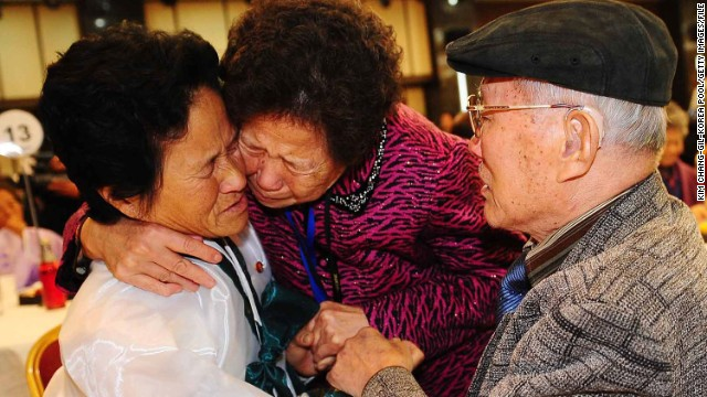 Relatives weep during a reunion of families divided by the Korean War, during this 2010 event.