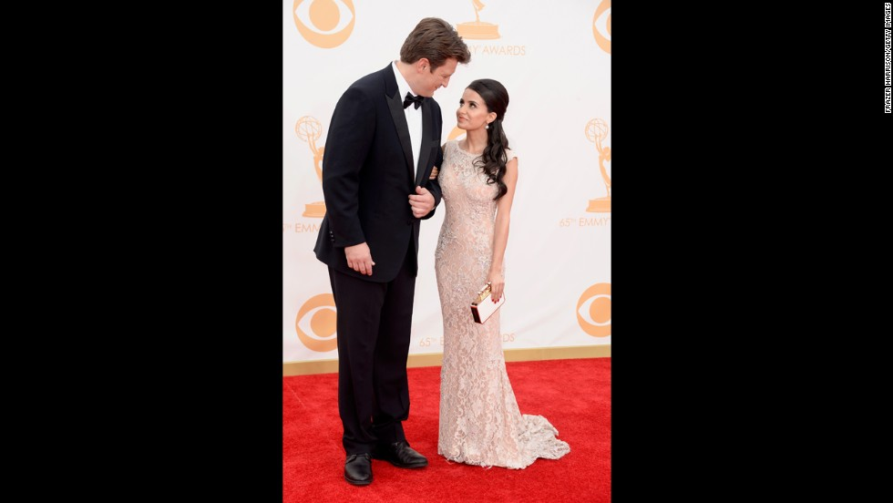 """""""Castle"""" star Nathan Fillion and Mikaela Hoover"""