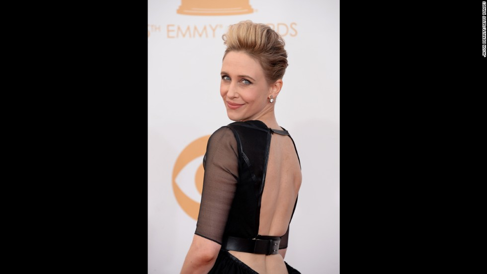 """Bates Motel"" star Vera Farmiga makes a daring fashion choice for the Emmys. She was nominated for outstanding lead actress in a drama series."