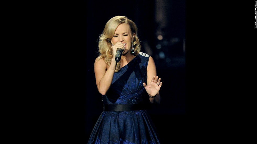 Country singer Carrie Underwood performs at the Emmys.