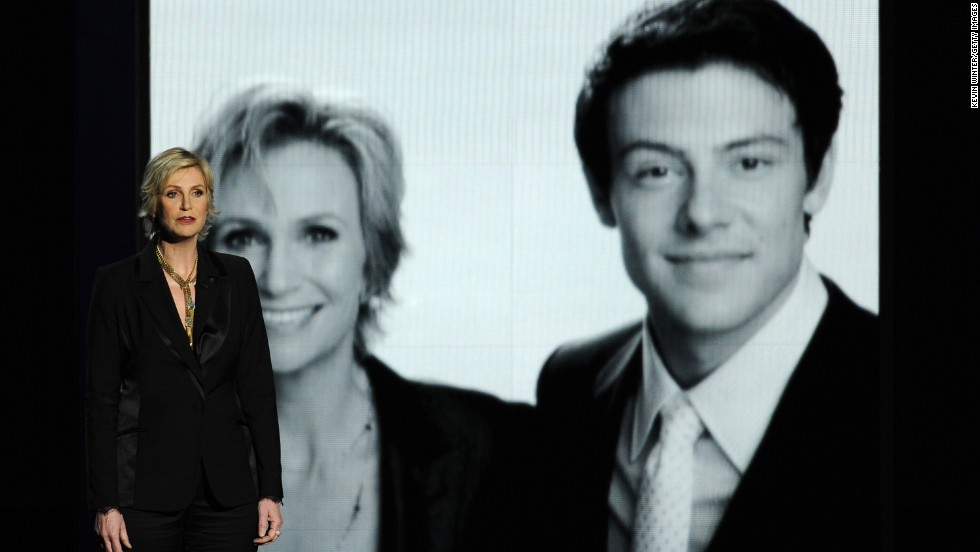 "Jane Lynch pays tribute to ""Glee"" co-star Cory Monteith, who died of a drug overdose in July."