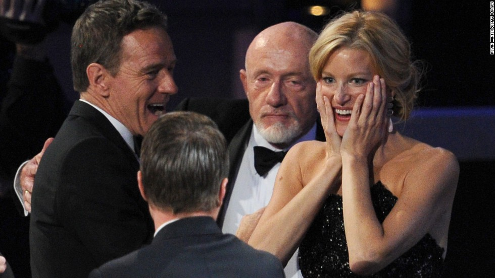 "From left, actors Bryan Cranston, Aaron Paul, Jonathan Banks and Anna Gunn react to ""Breaking Bad"" winning outstanding drama."