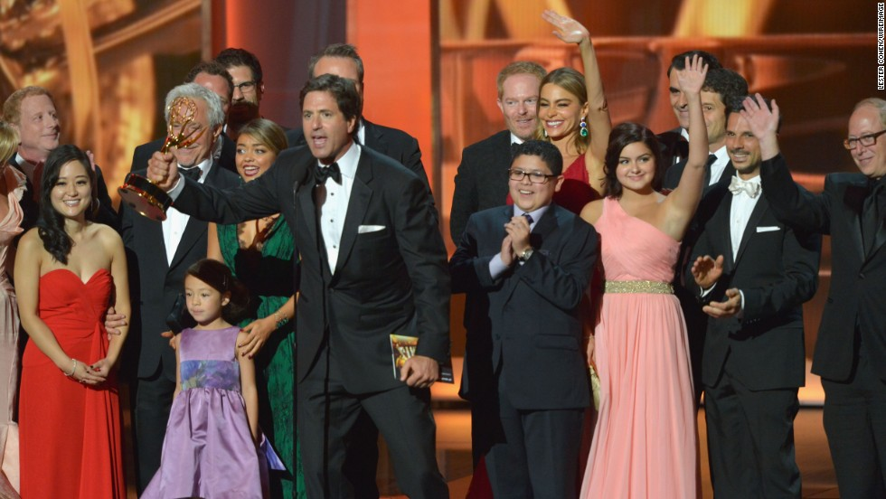 "Producer Steve Levitan and the cast of ""Modern Family"" accept the award for outstanding comedy series."