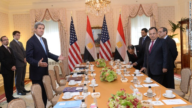 US Secretary of State John Kerry meets with Egypt's Foreign Minister Nabil Fahmy in New York September 22, 2013.