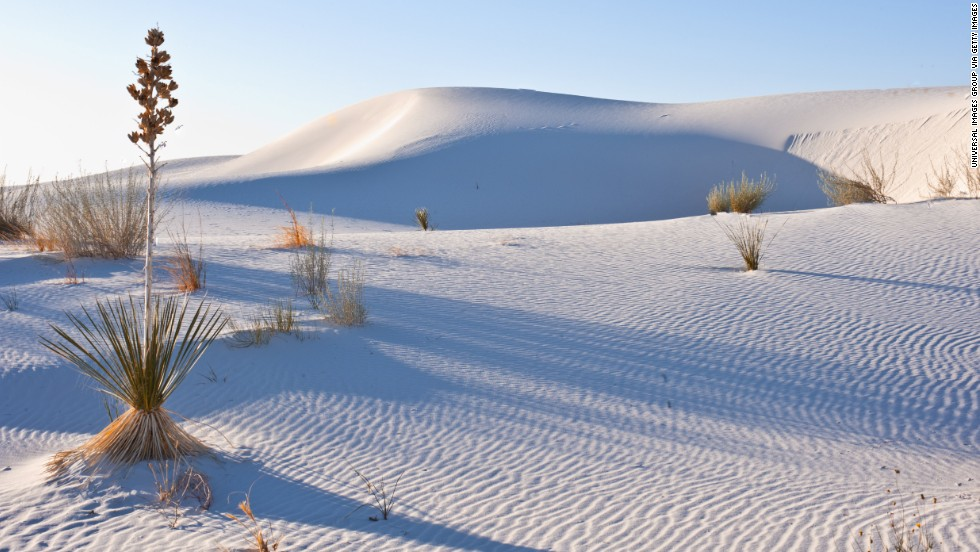 White Sands National Monument is made up of 275 square miles of shifting gypsum crystals.