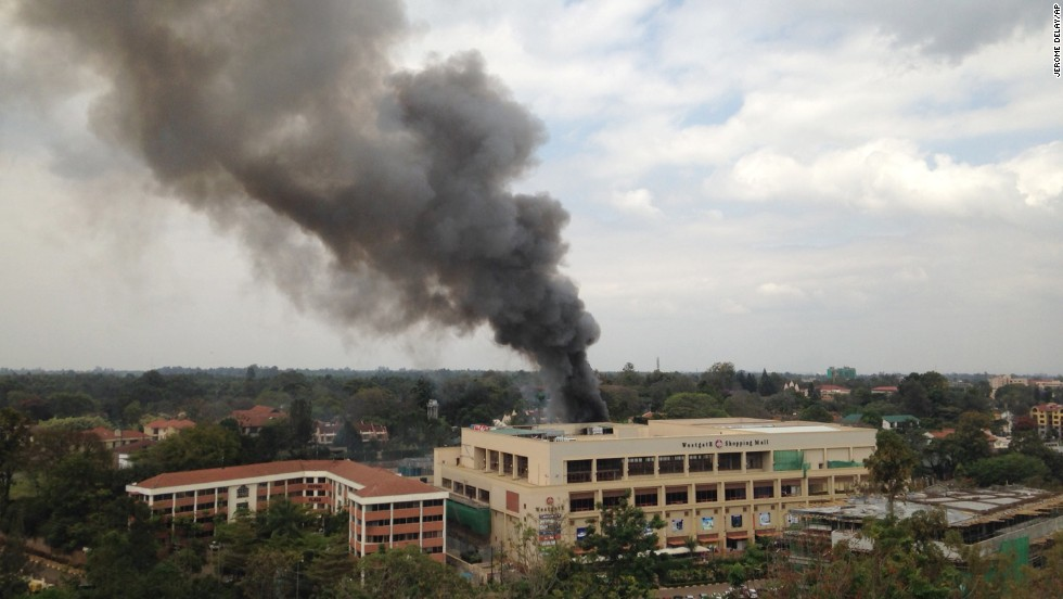 Heavy smoke rises from the Westgate Shopping Mall on September 23.