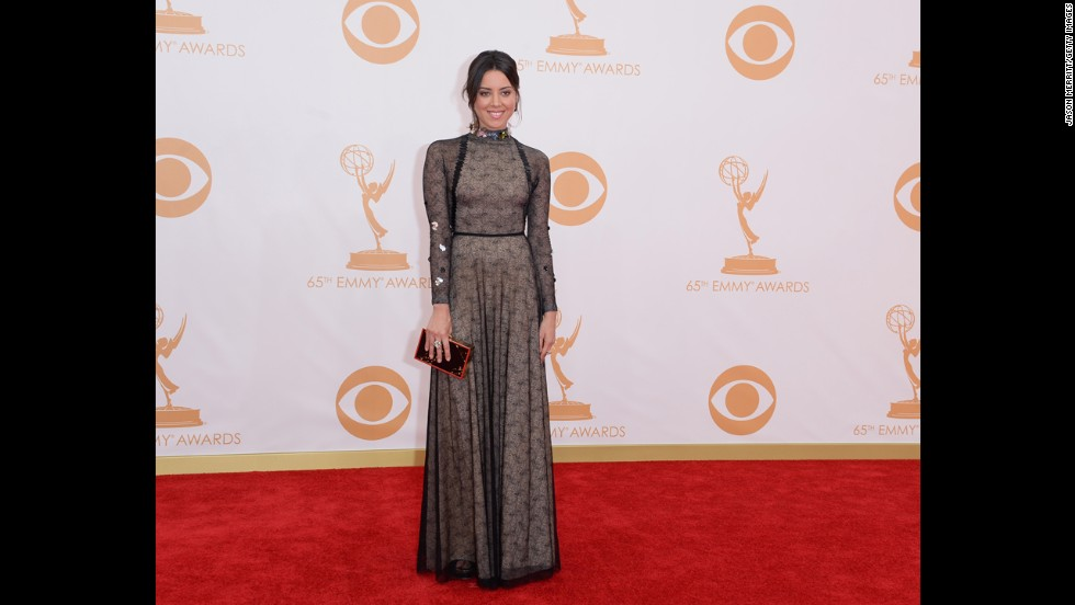 """""""Parks and Recreation"""" actress Aubrey Plaza opts for a covered-up look."""