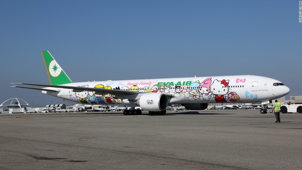 "That is one eye-catching plane livery. The new Hello Kitty Boeing 777 themed ""Sanrio Family hand-in-hand"" has Hello Kitty and 18 other Sanrio characters all holding hands."