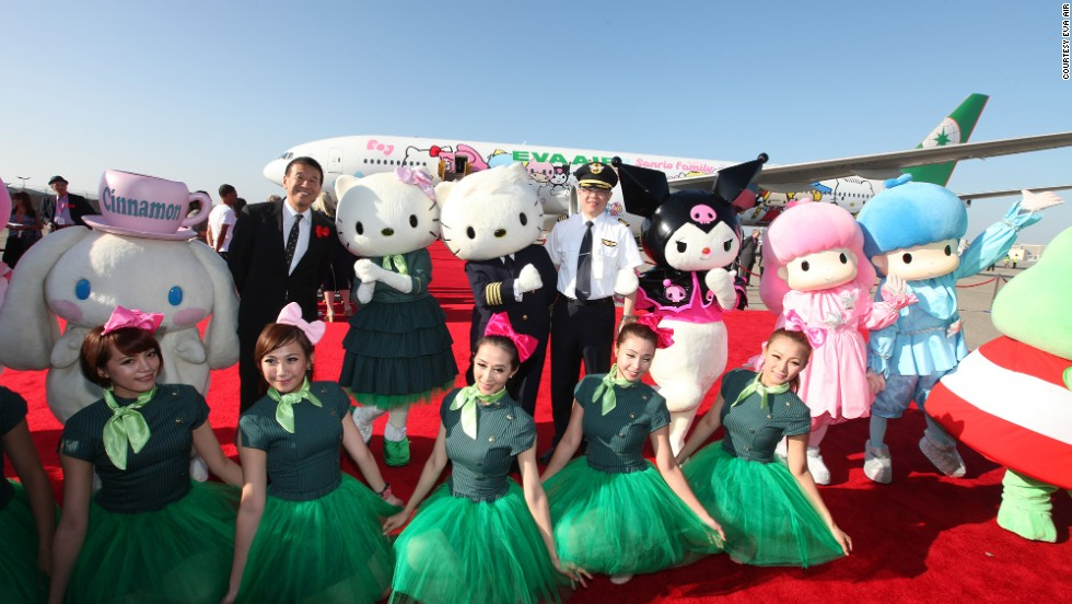 One of this motley crew actually flies the plane. The paint job required 35 designers and took three times as long to complete than EVA Air's other Asia-route-only Hello Kitty planes.