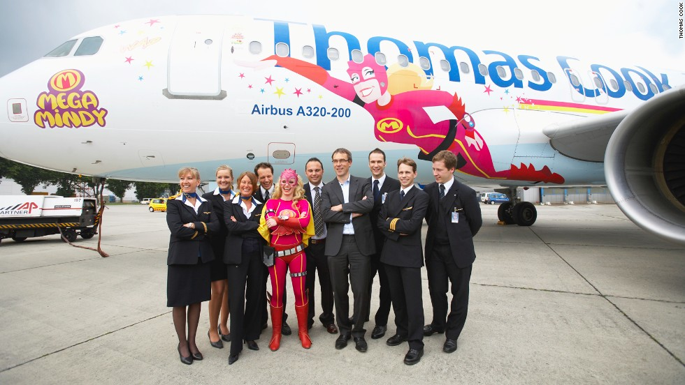 Warming to the theme, in 2009 Thomas Cook's Belgian branch unveiled its Mega Mindy livery -- inspired by a popular children's cartoon character created by the animation company Studio 100. The livery was created to advertise Studio 100's theme parks in Belgium and Germany.