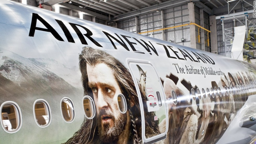 "The world's largest plane decal, taking more than 400 hours to complete, was unveiled in 2012. A <a href=""http://travel.cnn.com/air-new-zealand-hobbit-safety-video-123456"">Hobbit-themed safety video</a>, featuring characters from Middle Earth, was shown on the Air New Zealand plane, cabin crew even donning pointy ears for the first flight."