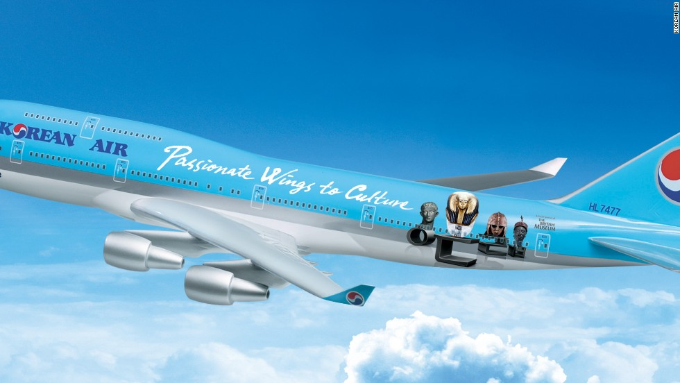 In 2009, Korean Air created a livery celebrating its sponsorship of London's British Museum. The livery depicted an Egyptian golden coffin mask and an Anglo-Saxon helmet, among other of the museum's exhibits. A helmet -- winged or otherwise -- yes. But can the coffin theme have helped the more nervous flyers onboard?