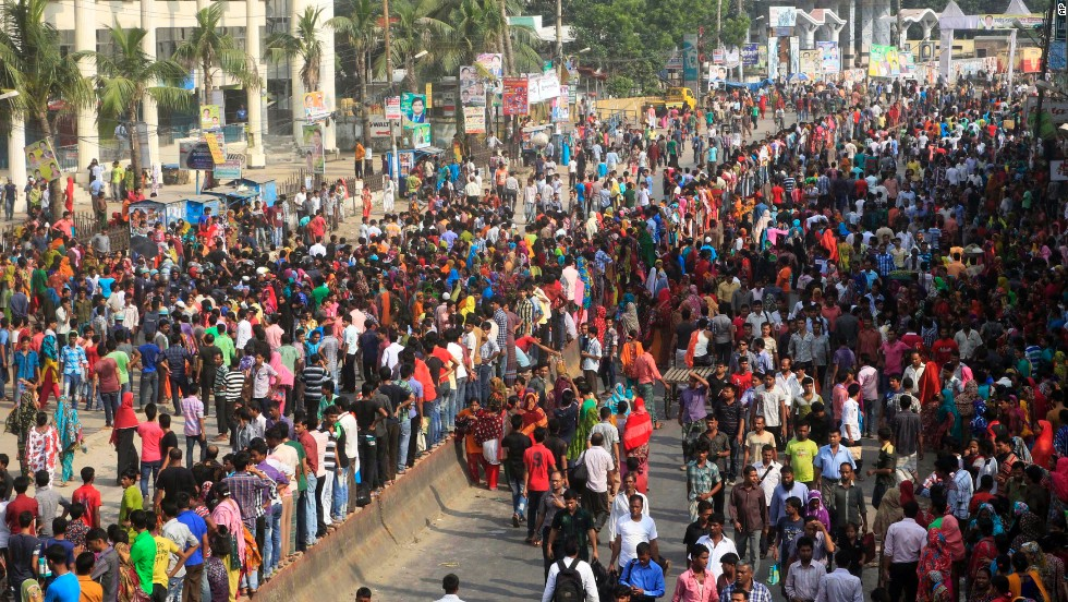 Protesting garment workers block a street in Gazipur.
