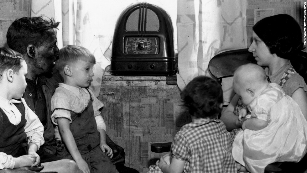 By the 1930s, radio was flourishing. Families gathered around to listen to the latest entertainment and news.