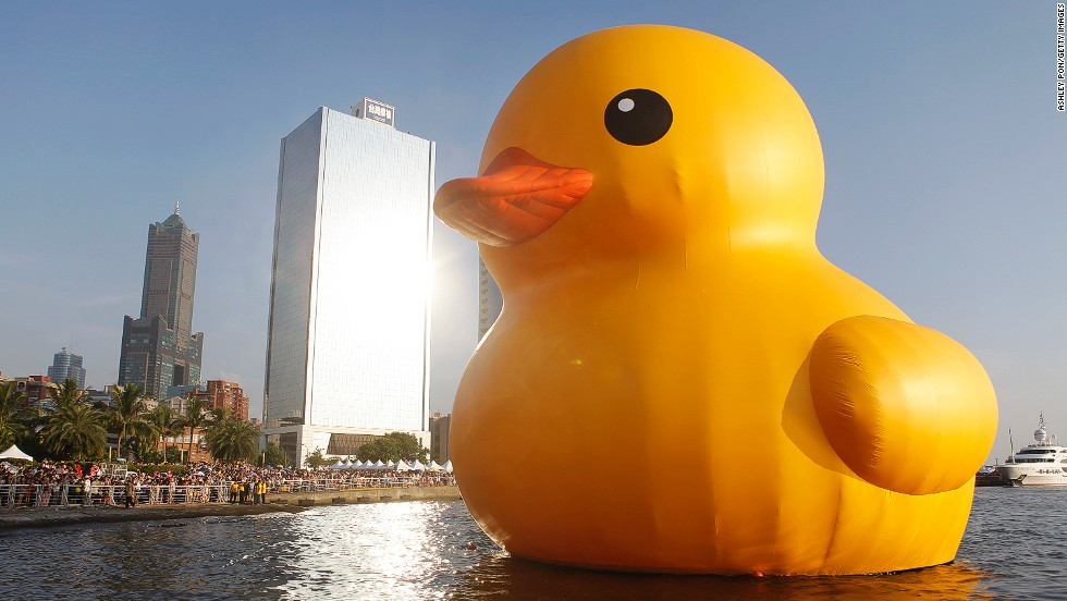The duck has made waves before (see below), but Taiwan could be its most successful stop. On its first day in town, the duck drew 200,000 spectators to the harbor. Kaohsiung City has a population of 2.3 million.