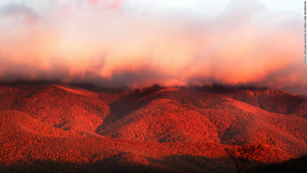 The view from the summit of Mount Mitchell at Mount Mitchell State Park shows the incredible fiery colors of a Blue Ridge autumn.