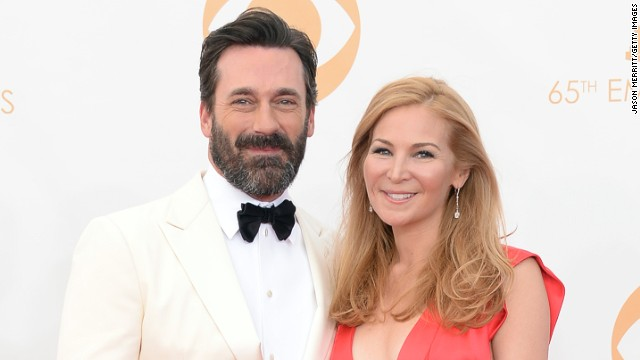 Jon Hamm and partner, Jennifer Westfeldt, at the 65th Emmy Awards on September 22.