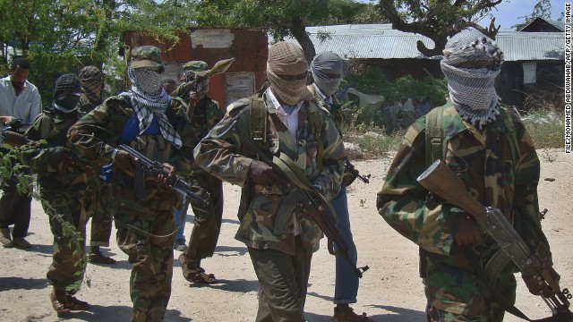 This file photo shows an Al-Qaeda linked al-shabaab recruits in the Somalian capital, Mogadishu, following their graduation.