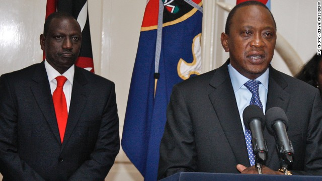 Kenyan President Uhuru Kenyatta, right, is scheduled to appear in front of the International Criminal Court next month. Deputy President William Ruto, left, is on trial now.
