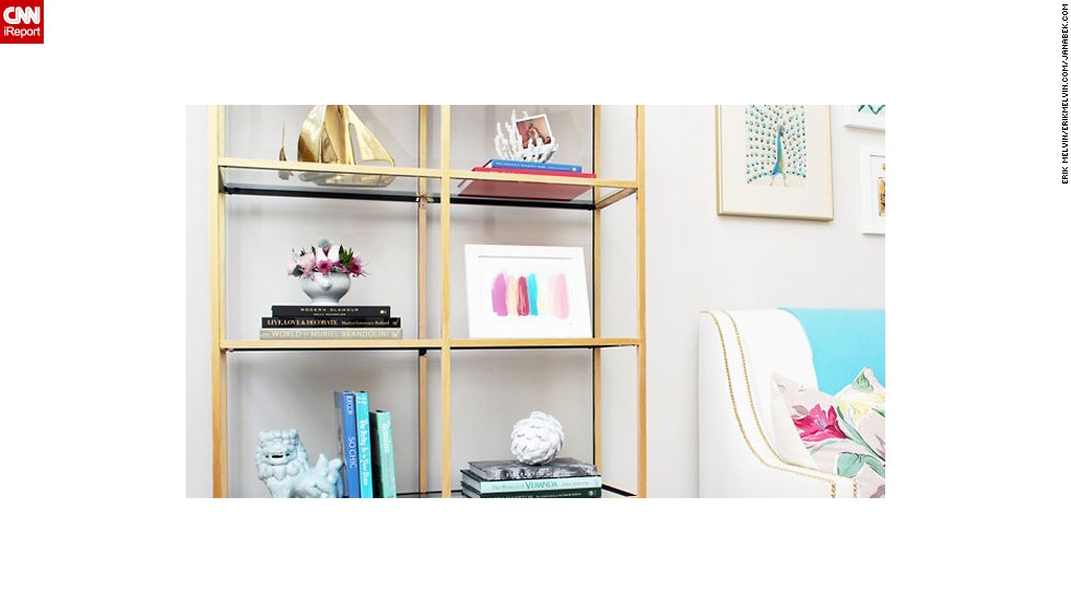 "<a href=""http://ireport.cnn.com/docs/DOC-1036767"">Jana Bek</a> loves the brass boats on the top shelf of this bookcase. Are you also a sucker for objects that shimmer? Ask Bek where she finds <a href=""http://janabek.com/"" target=""_blank"">affordable and unusual decor</a> in the comment section."