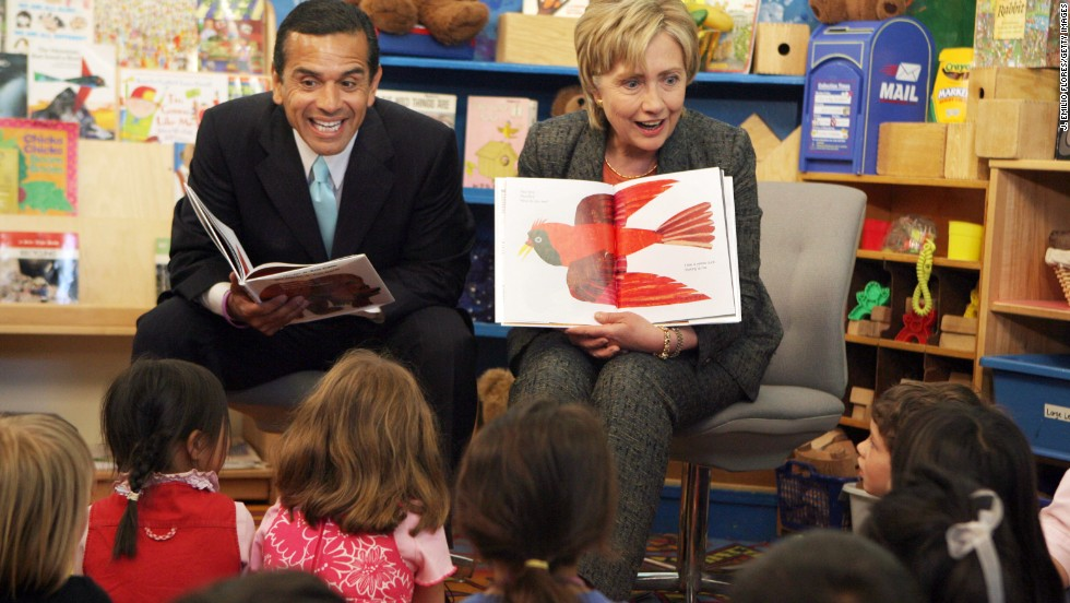 "Los Angeles Mayor Antonio Villaraigosa and Sen. Hillary Clinton, D-New York, read ""Brown Bear, Brown Bear, What Do You See?"" to children at the Krieger Center in Los Angeles in May 2007."