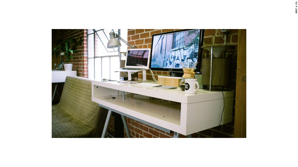 "Nik Bauman, CEO of coffee startup Tonx, has a <a href=""http://www.brit.co/standing-desks"" target=""_blank"">standing desk</a> in his office that keeps him on his feet."