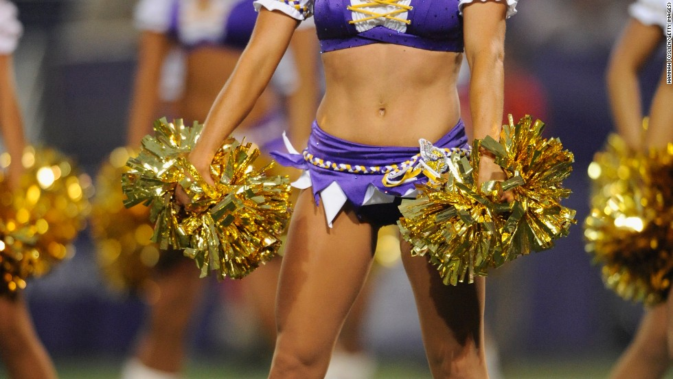 While the NFL muscle men go to war on the pitch, women wearing skimpy outfits and shaking brightly colored pom-poms strut their stuff with intricately choreographed dance routines.