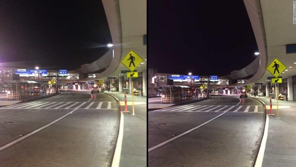 The iPhone 5S has a larger sensor, which lets in more light and makes indoor or nighttime photos less murky. The 5S picture on the right is crisper and shows less flare from the airport lights than the iPhone 5 shot on the left.