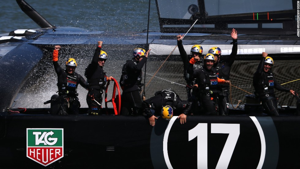 The celebrations begin as Oracle Team USA pull off a momentous victory to win the America's Cup 9-8.