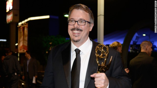 """Breaking Bad"" creator shows off his Emmy from the 2013 Emmy Awards."