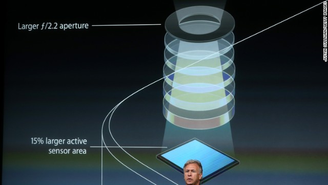 Apple marketing chief Phil Schiller discusses the larger aperture and improved light sensor on the iPhone 5S camera.