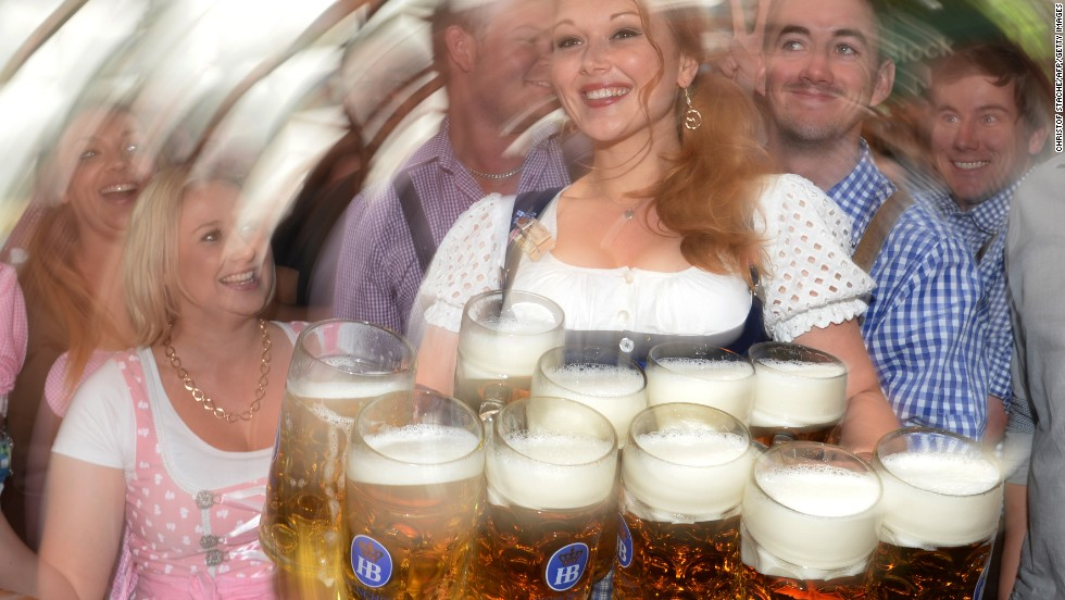 Yes, comely maids will look like that if you concentrate more on the quantity of your steins than the quality. The family-friendly Augustiner tent is often reckoned to serve the best beer/bier.