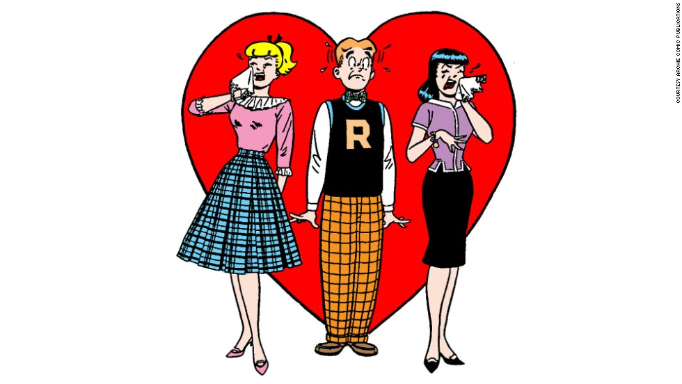 Of course, things could get tense, even in Riverdale, as Archie bumbled through his love troubles with the kind blonde next door, Betty Cooper, who couldn't catch a break against the dark-haired rich girl, Veronica Lodge. Archie's letter sweater and the girls' retro skirts in this '60s-era version would soon give way to more groovy looks -- with Betty and Veronica sporting tight pants and miniskirts.
