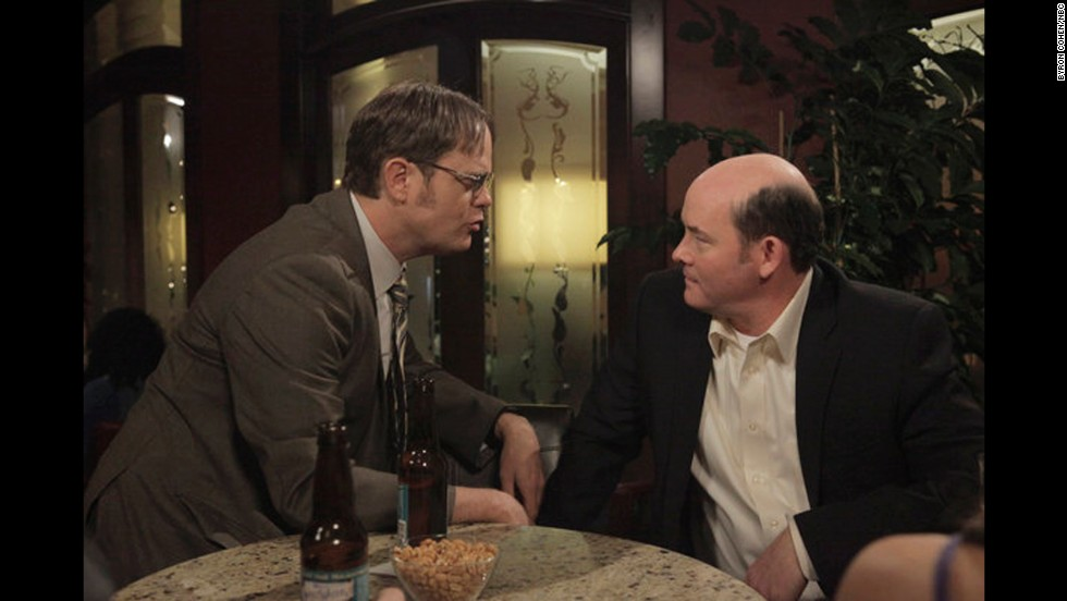 "Rainn Wilson, left, as Dwight Schrute and David Koechner as the crude, rude office jokester Todd Packer in ""The Office."""