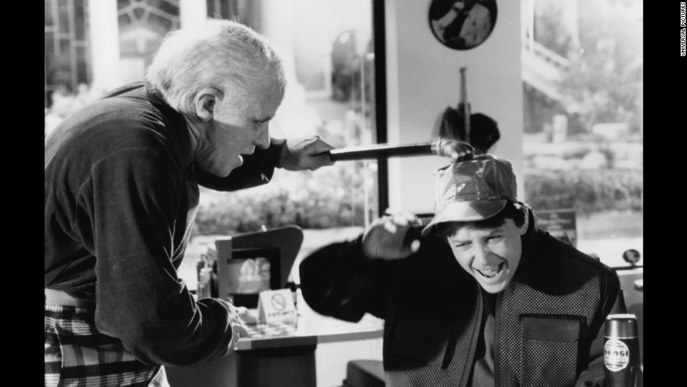 "Biff Tannen (Thomas F. Wilson) terrorizes Marty McFly Jr. (Michael J. Fox) in ""Back to the Future II."""