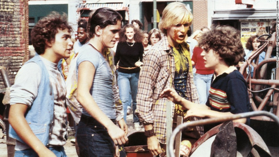 "Matt Dillon, second from left, is the head bully in charge of runt Chris Makepeace, right, who hires a very large classmate to take on his tormenter in the 1980 film ""My Bodyguard."""