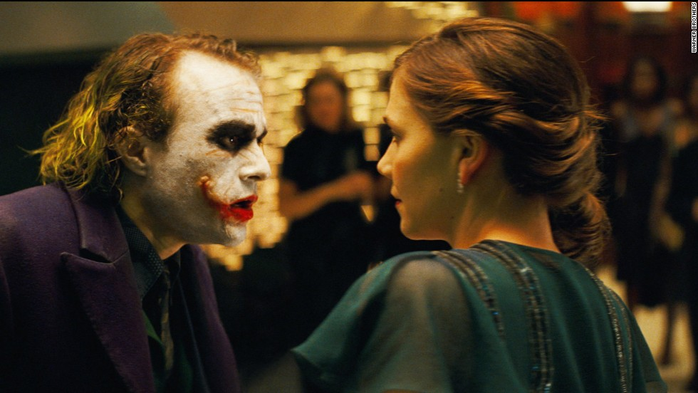 "Heath Ledger starred as the Joker and Maggie Gyllenhaal as Rachel Dawes in ""The Dark Knight."" The death of Rachel hit Bruce Wayne/Batman hard."