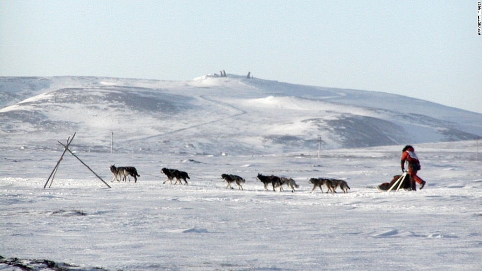 Held the first Saturday in March, the nearly 1,100 mile race from Anchorage to Nome is famous for its tough tundra and climate. Iditarod champion Lance Mackey is shown here mushing his way to victory toward Nome in 2007.