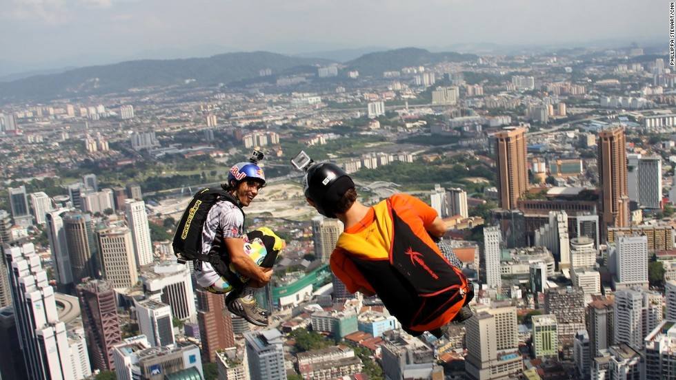 Many of the jumpers wore cameras on their helmets to capture the wild journey to the bottom of Malaysia's KL Tower.