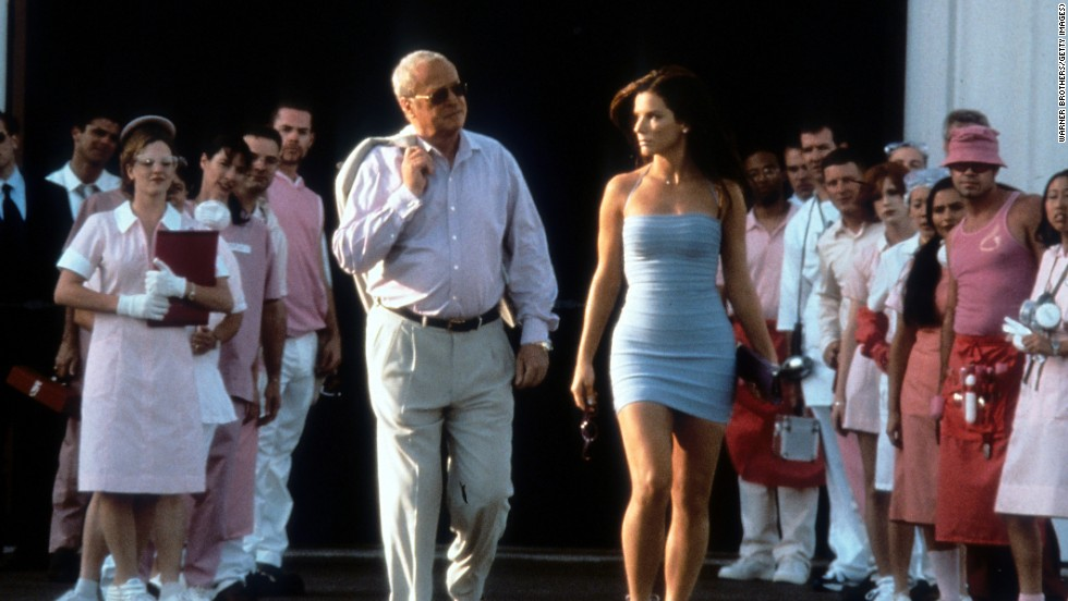 "Michael Caine walks with Bullock in a scene from the 2000 film ""Miss Congeniality."""