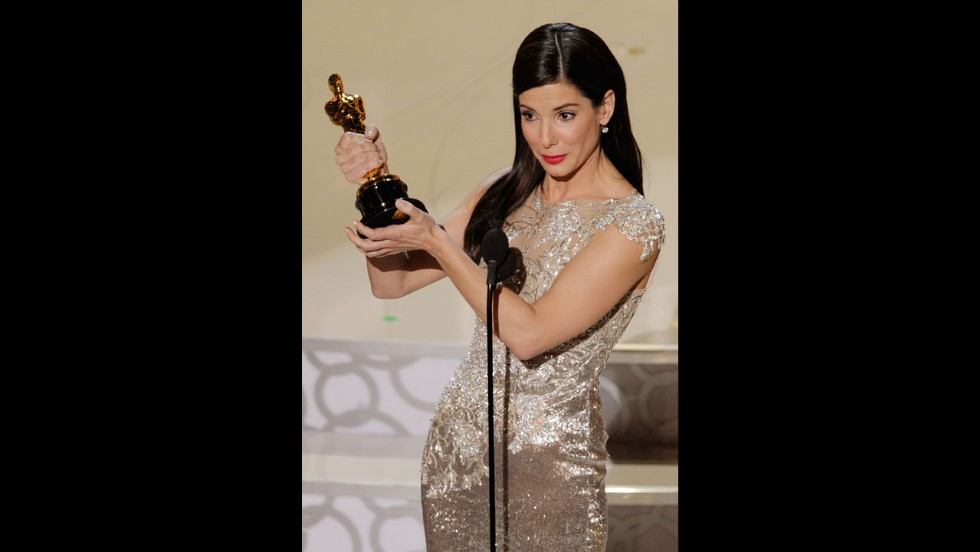 "Bullock accepts the best actress award for ""The Blind Side"" during the 82nd Annual Academy Awards in March 2010 in Hollywood."