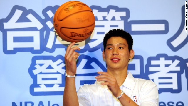 Lin poses for photo during a press conference in Taipei in July 2010. Lin was invited for a two-day trip to promote the Yao Ming's Yao Foundation Charity tour.
