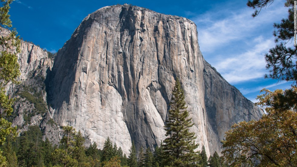 El Capitan at Yosemite National Park is known as the rock where big wall rock climbing began. Climbers can take five days to complete the climb.