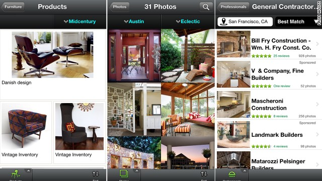 Home improvement app Houzz has a library of more than 2 million images of homes, gardens, pools and closets.