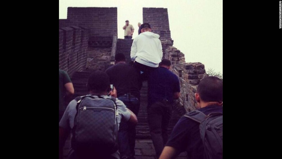 "Was he saving his energy for his fans or just courting more controversy? In October 2013, the day after a concert in Beijing, Bieber was snapped letting his bodyguards <a href=""http://www.cnn.com/2013/10/02/travel/justin-bieber-great-wall-of-china/index.html"">carry him up the stairs</a> at the Great Wall of China."