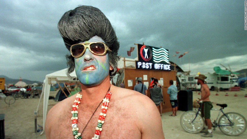 The Burning Man festival takes place yearly in the Black Rock Desert in Nevada. Many participants opt to wear costumes (or body paint). This year, the festival attracted 61,000 attendees.
