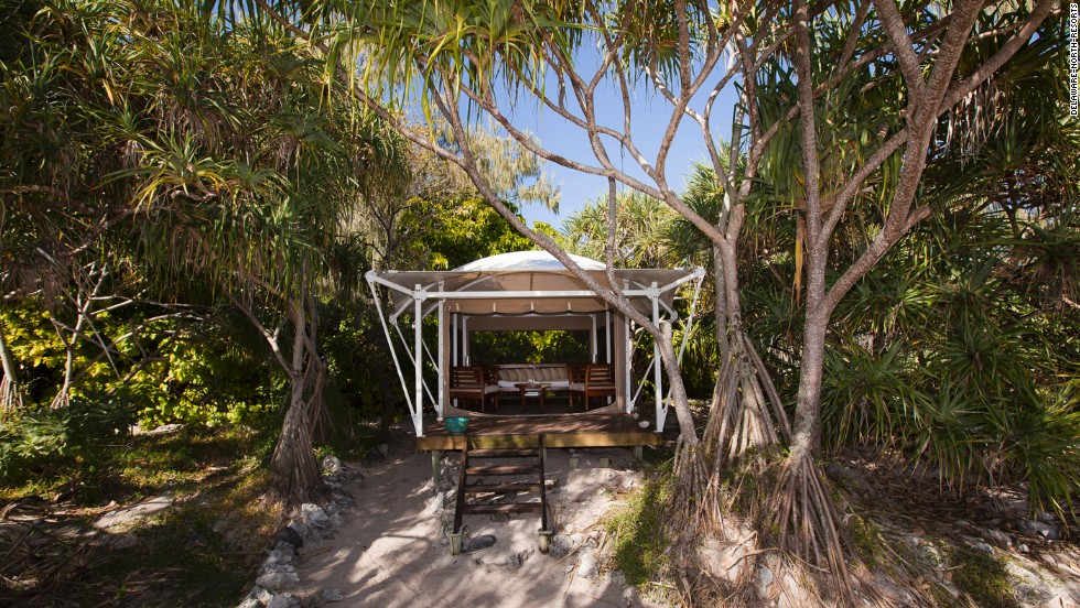 On Australia's Great Barrier Reef, Wilson Island offers an unusual experience. The tiny island, which must be rented in its entirety, has just six two-person tents, all of which come with private hammocks and raised timber floors.