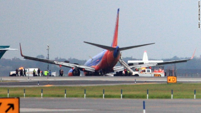 A Southwest Airlines flight's landing gear collapsed shortly after touching down at LaGuardia Airport in July.